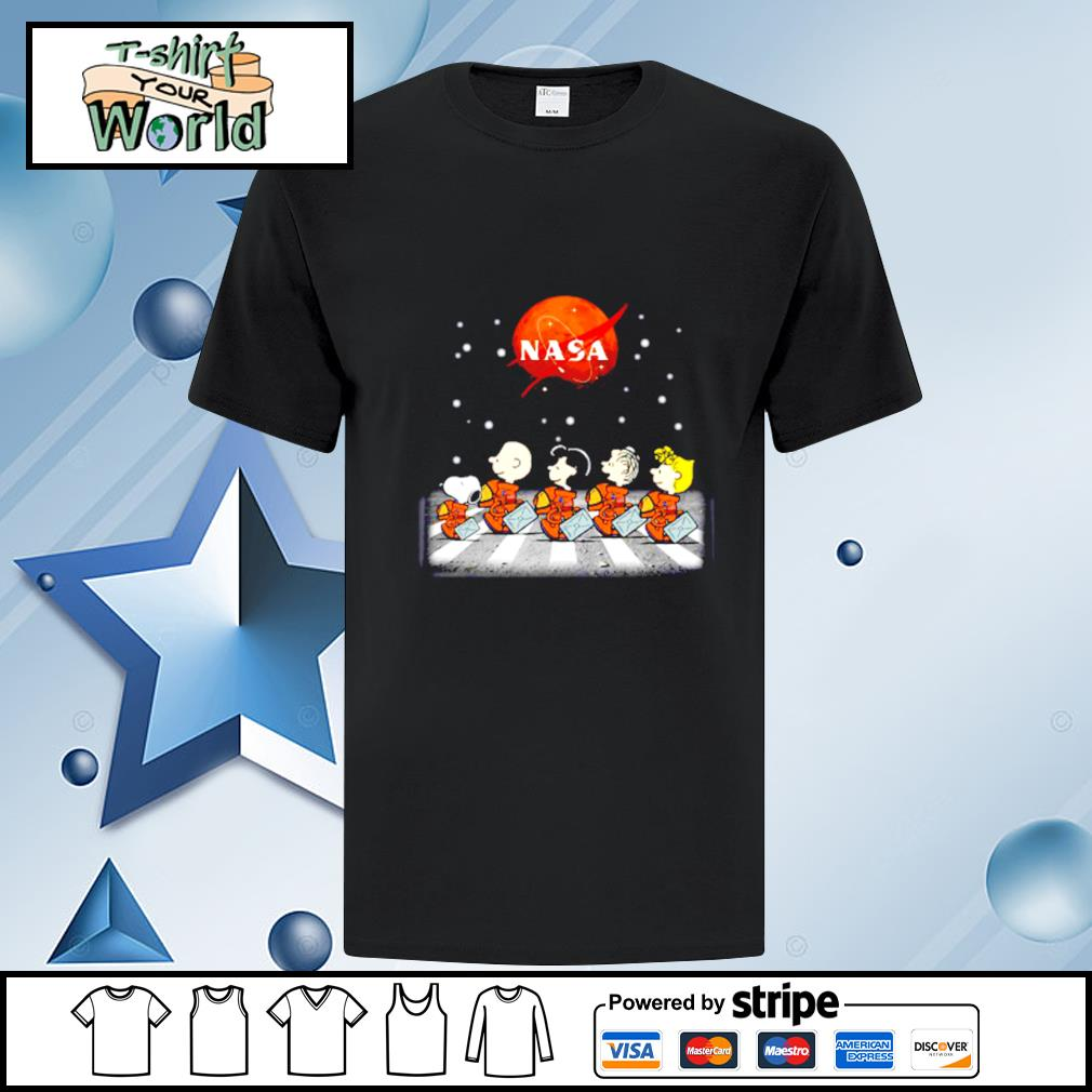Nasa Charlie Brown Snoopy and friends abbey road shirt