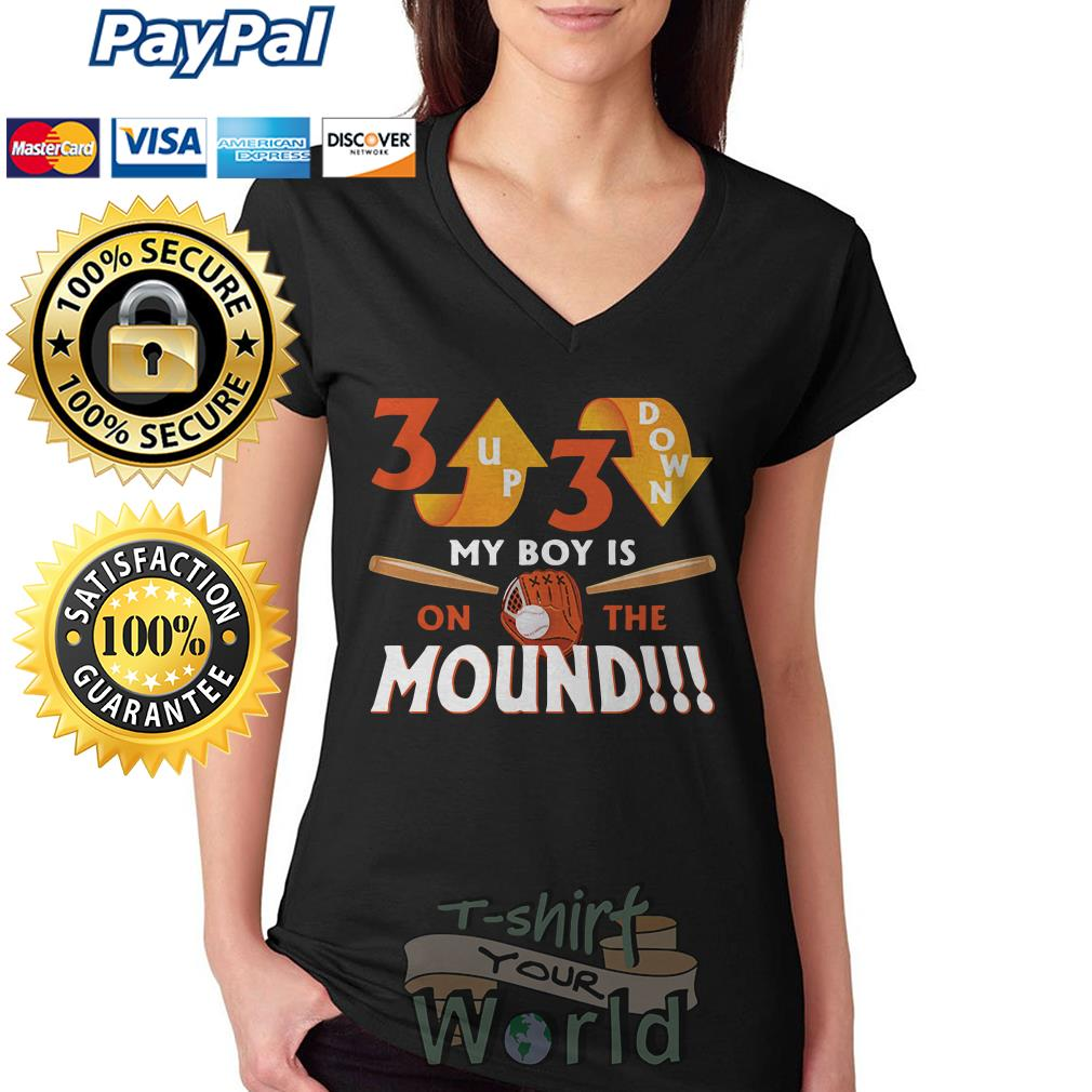 Up down my boy is on the mound V-neck T-shirt