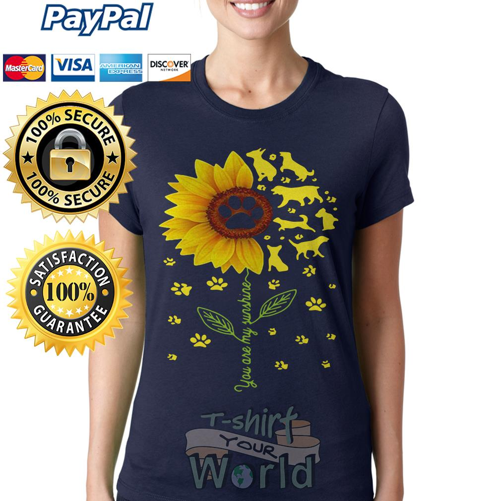 Flower and Dogs You are my sunshine Ladies tee