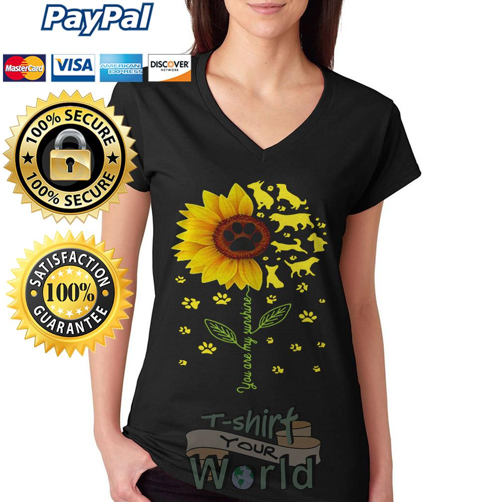 Flower and Dogs You are my sunshine V-neck T-shirt