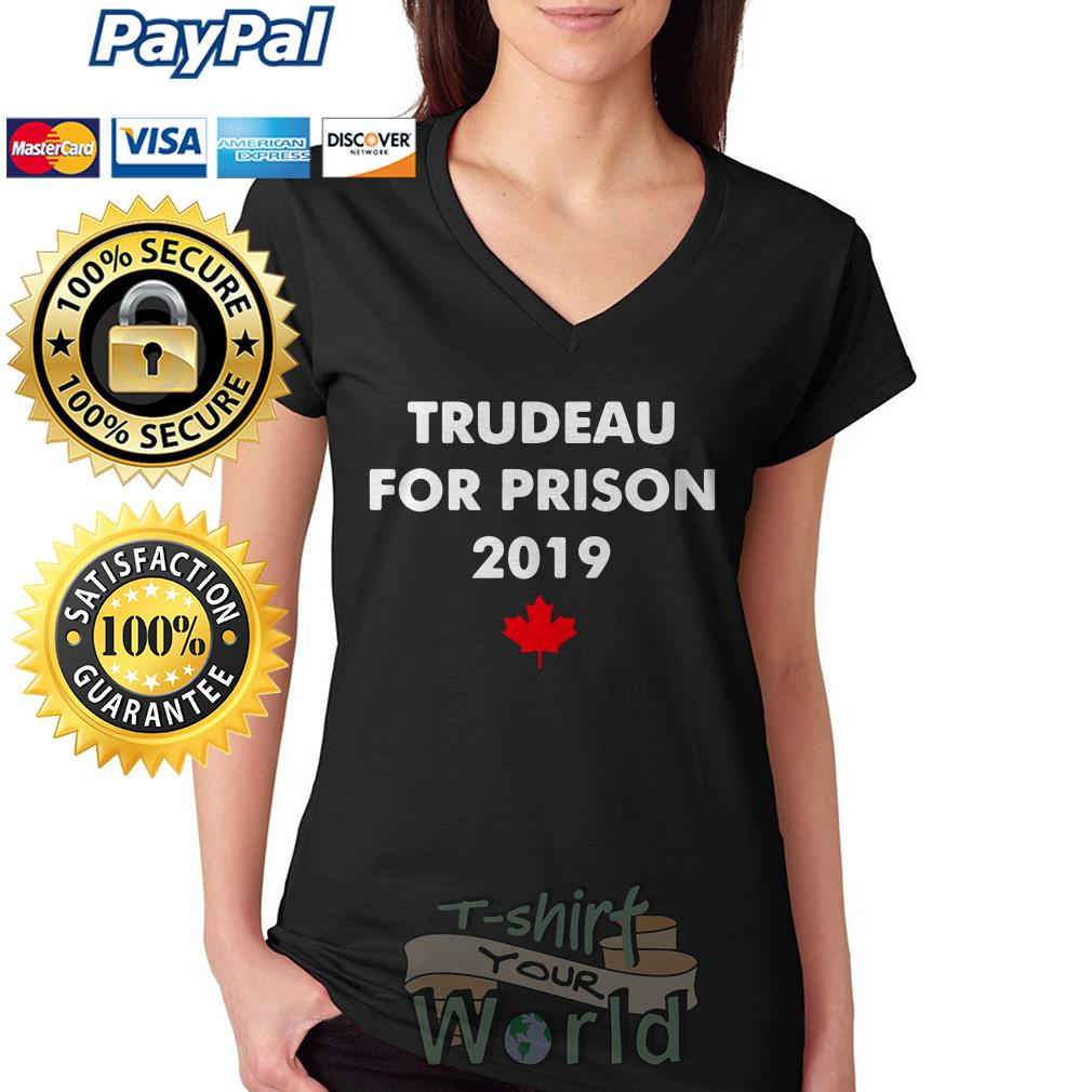 Trudeau for prison 2019 Red maple leaves V-neck T-shirt