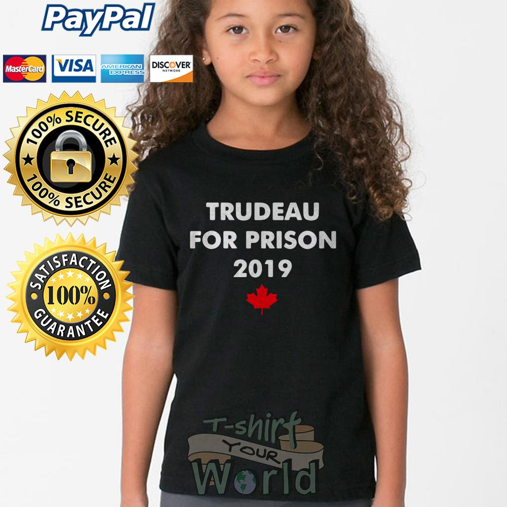 Trudeau for prison 2019 Red maple leaves Young tee