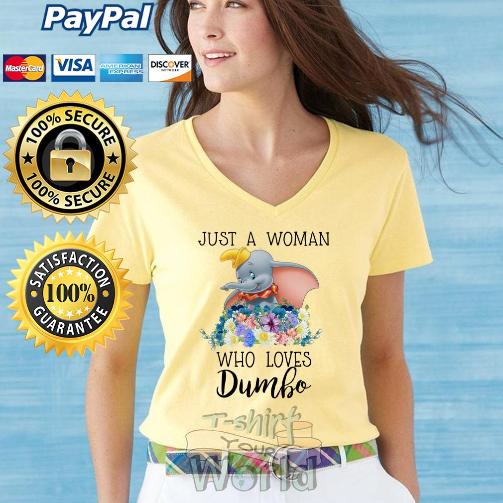 Elephant Just a Woman who loves Dumbo V-neck T-shirt