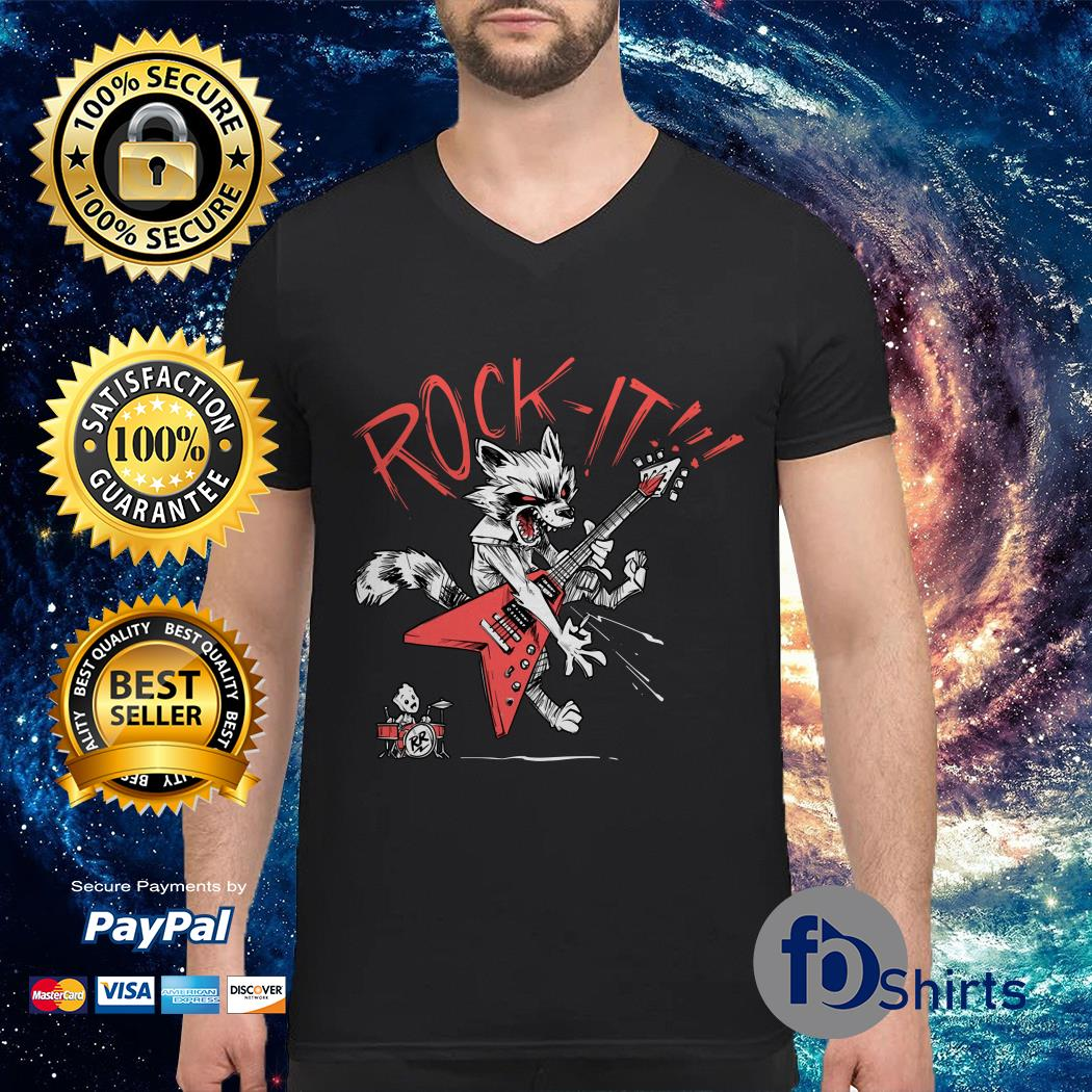 Rocket and Groot rock it V-neck t-shirt