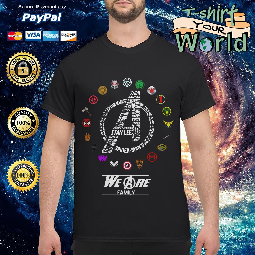 Avengers team and individual logos we are family shirt