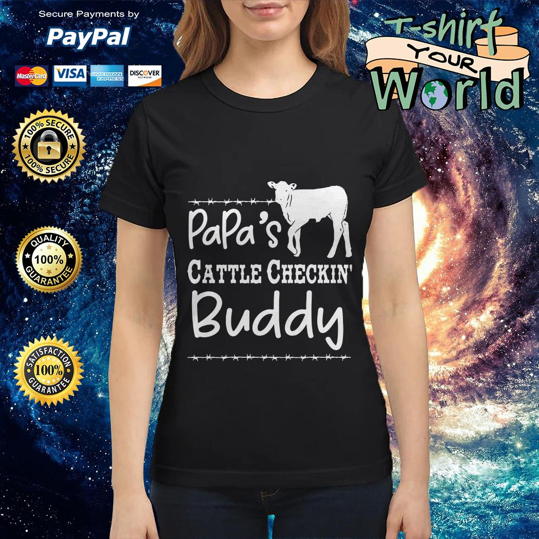 Cow Dad's cattle checkin' buddy Ladies tee