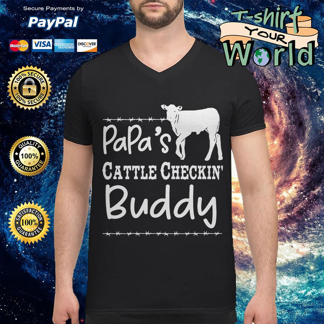 Cow Dad's cattle checkin' buddy V-neck t-shirt