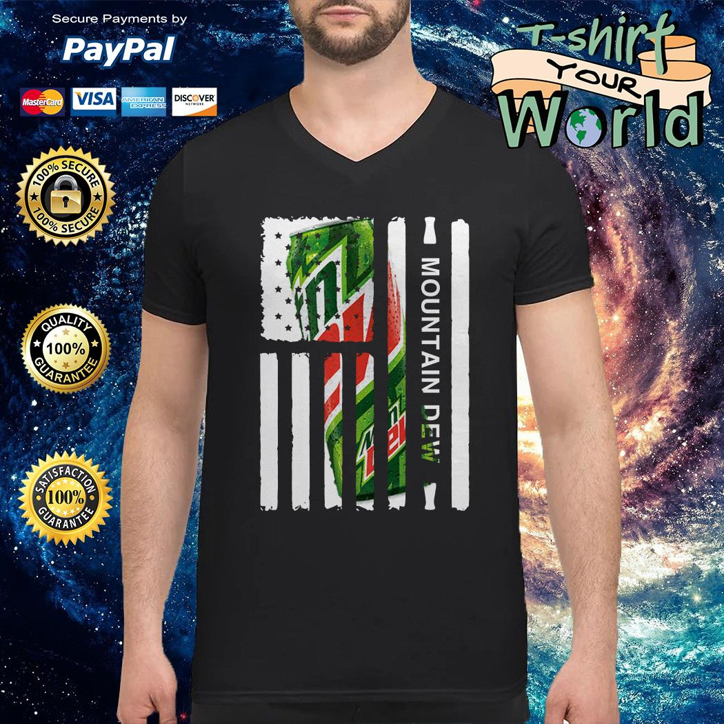 Mountain Dew independence day american flag V-neck t-shirt