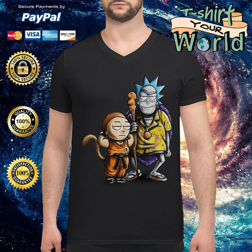 Rick and morty dragon ball V-neck t-shirt