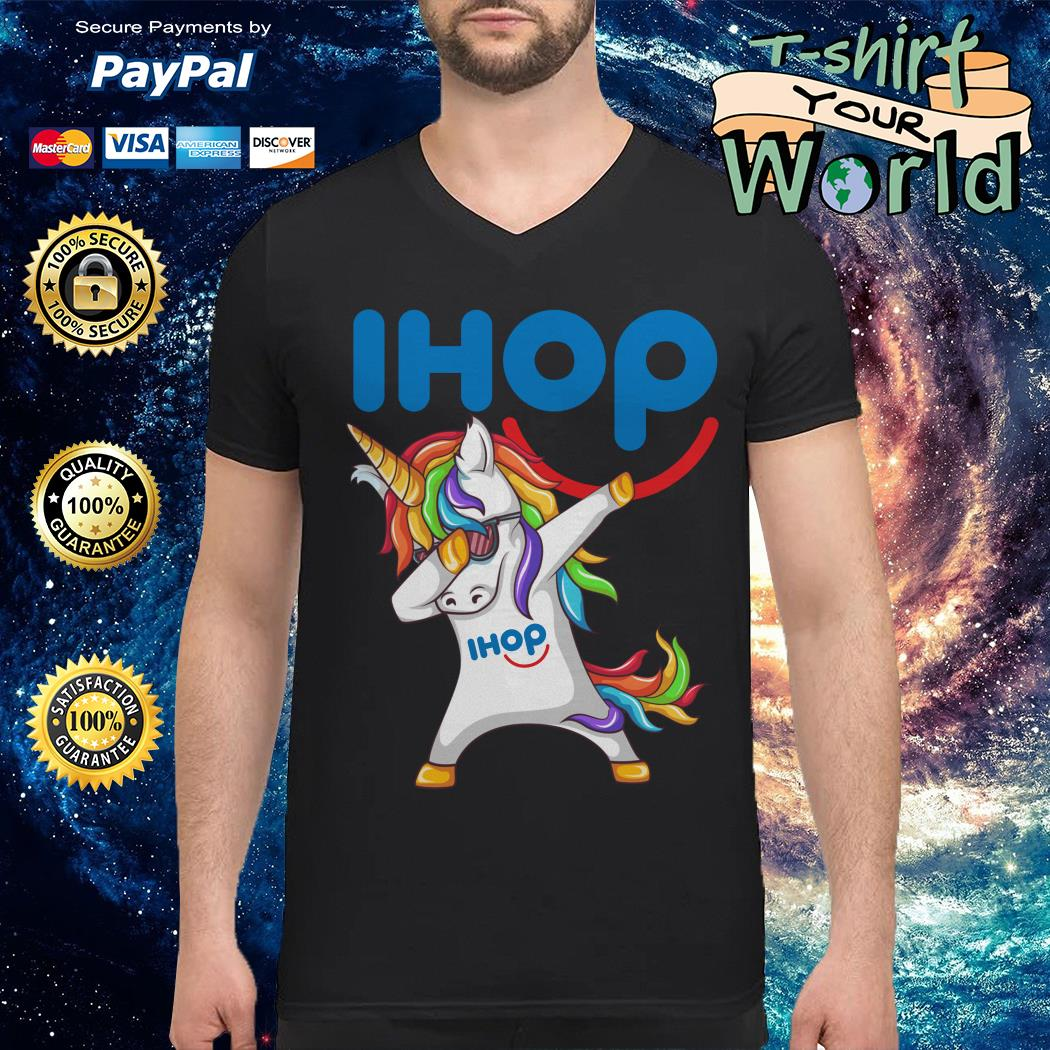 Unicorn dabbing ihop V-neck t-shirt