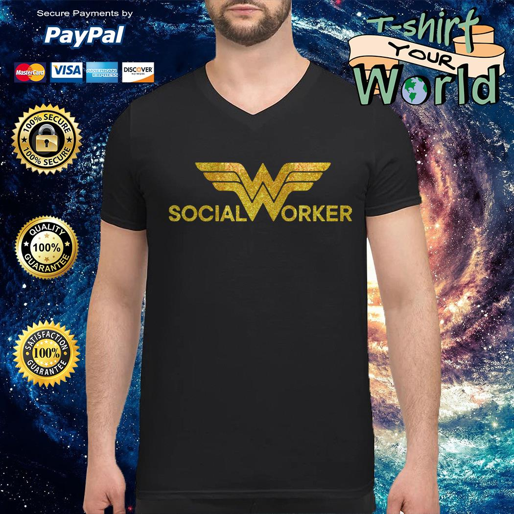 Wonder woman social worker V-neck t-shirt