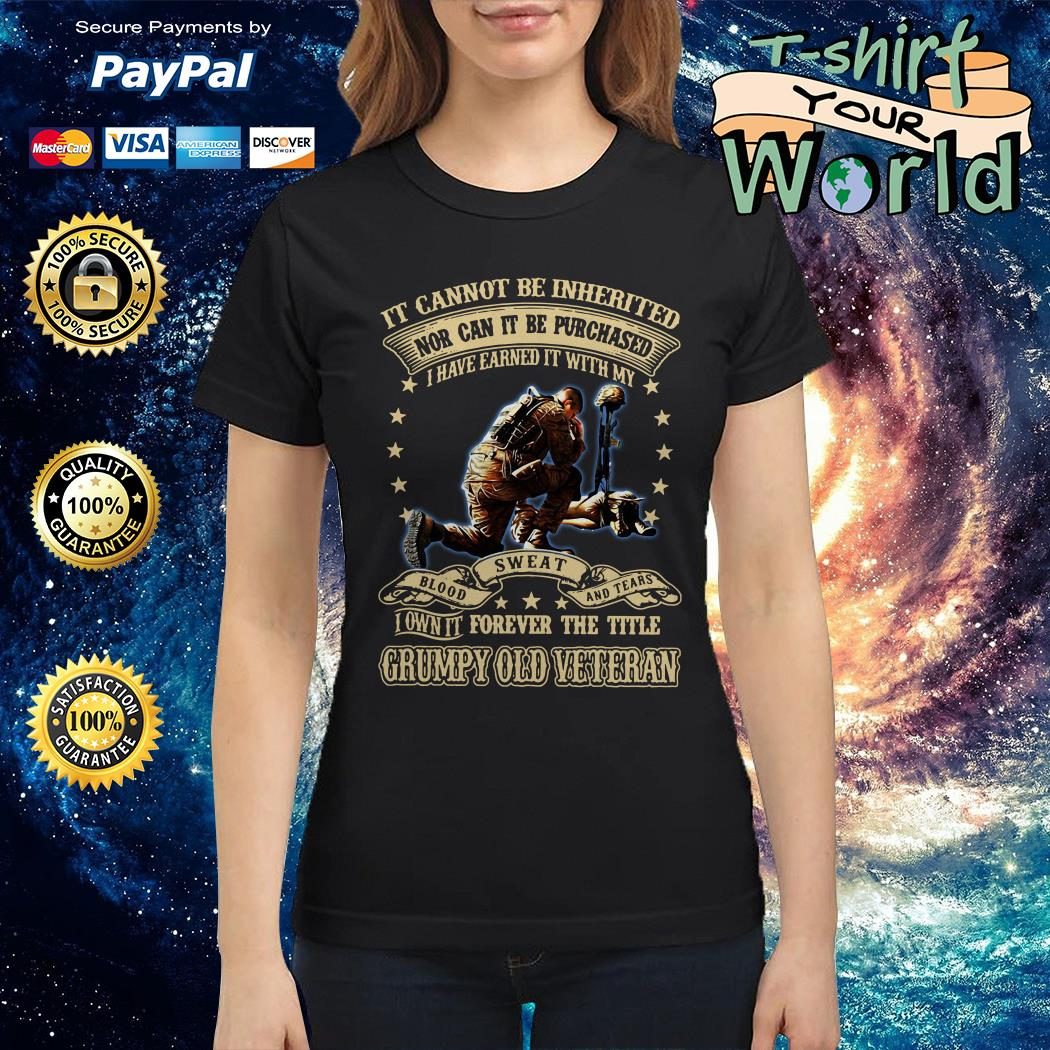 Not can it be Purchased forever the title Grumpy old Veteran Ladies tee