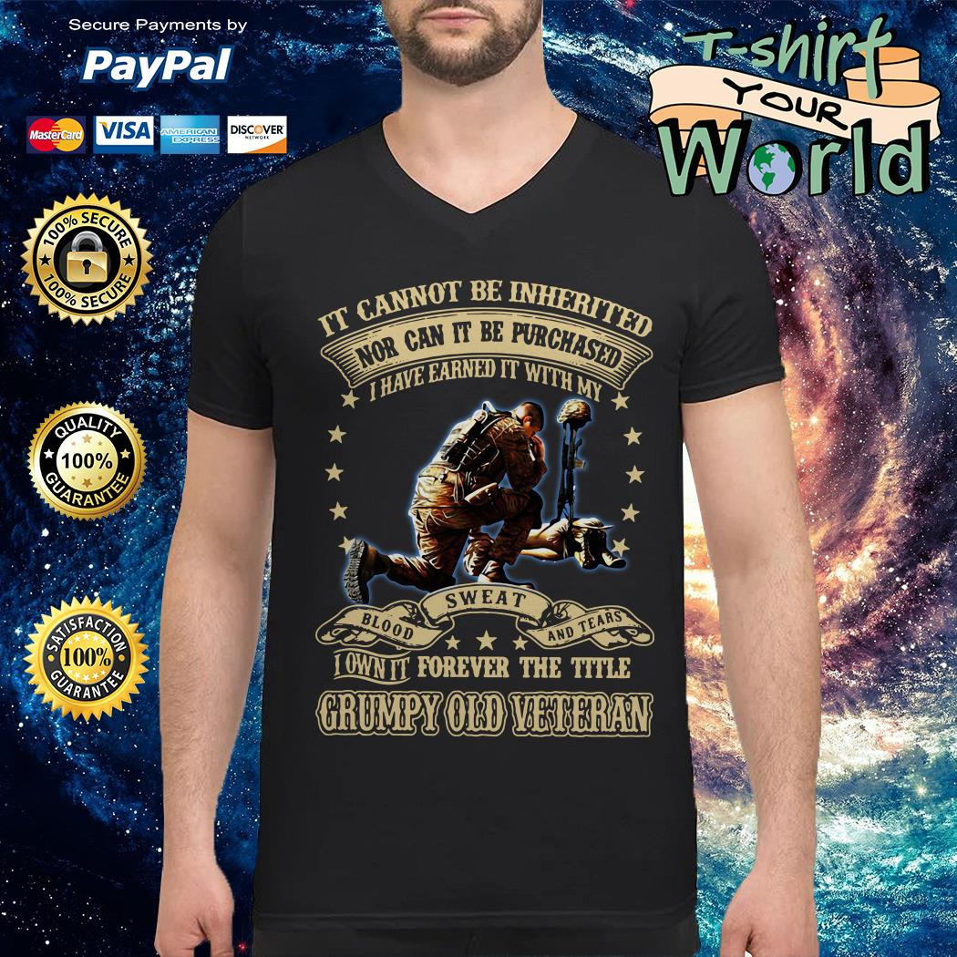 Not can it be Purchased forever the title Grumpy old Veteran V-neck t-shirt