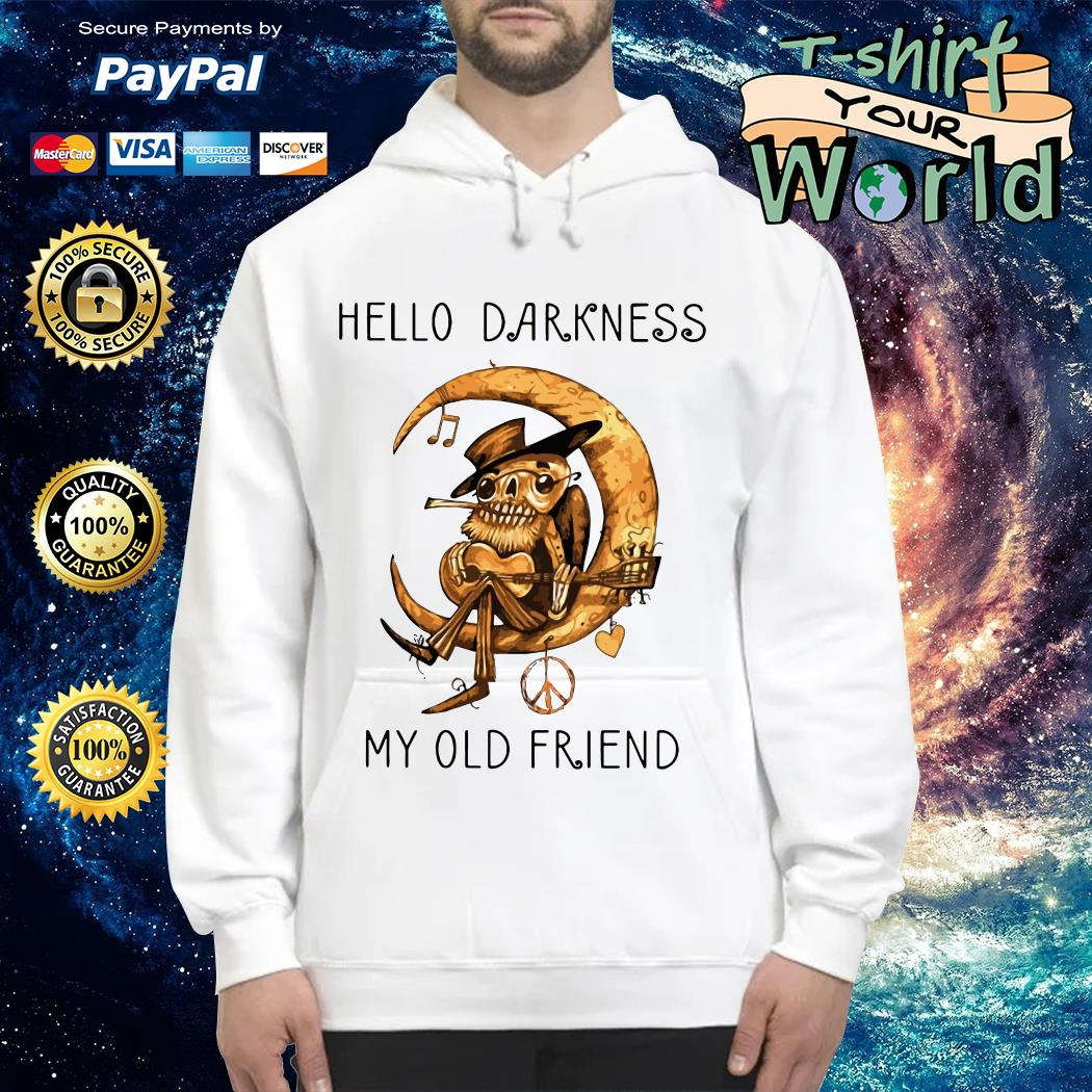 Old Blues Guitarist playing on Moon Hello Darkness my old Friend Hoodie
