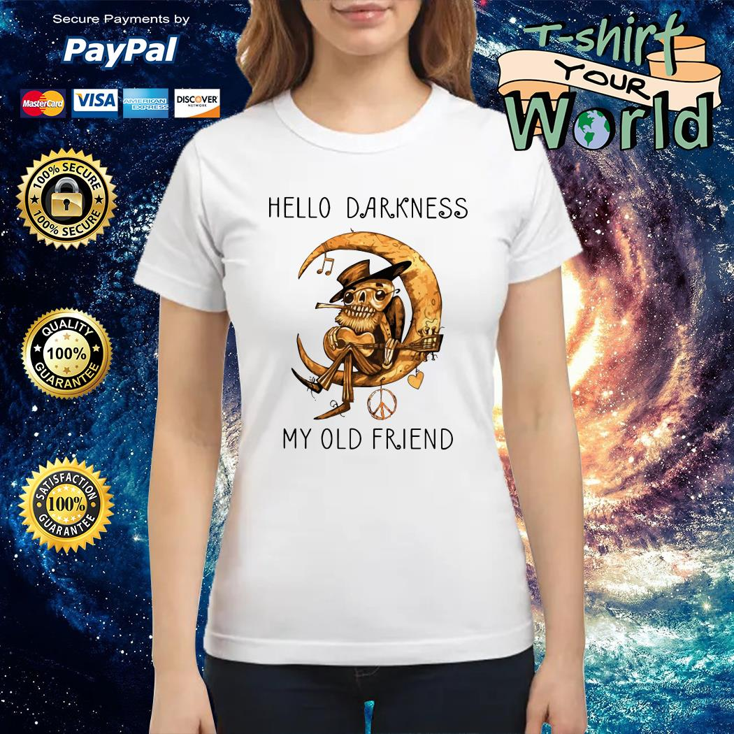 Old Blues Guitarist playing on Moon Hello Darkness my old Friend Ladies teeOld Blues Guitarist playing on Moon Hello Darkness my old Friend Ladies tee