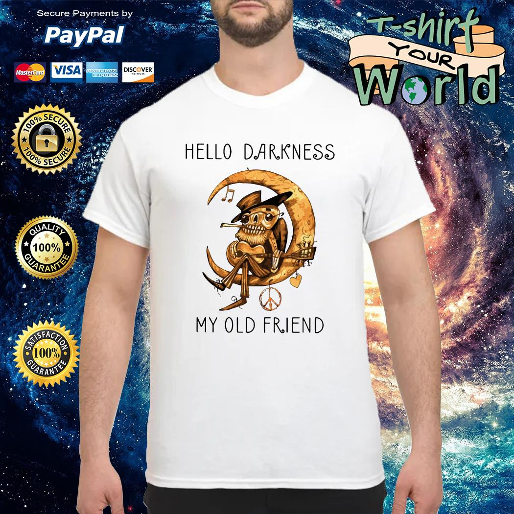 Old Blues Guitarist playing on Moon Hello Darkness my old Friend shirt
