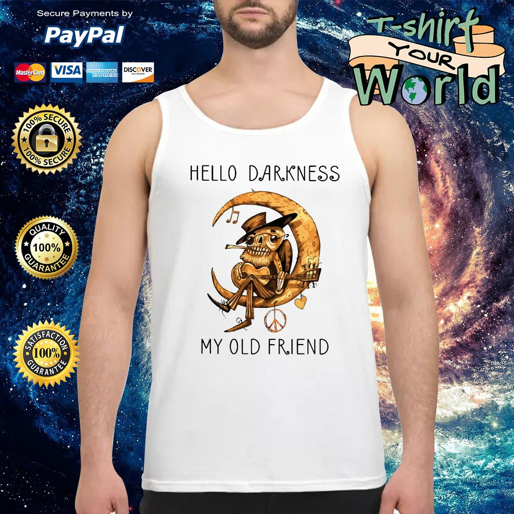 Old Blues Guitarist playing on Moon Hello Darkness my old Friend Tank top