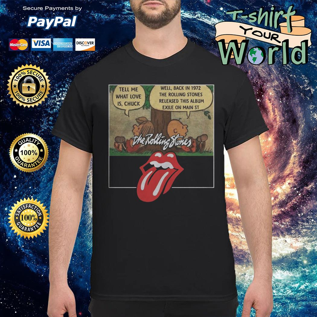 The rolling stones Tongue and Lips Charlie Brown and Peppermint patty shirt