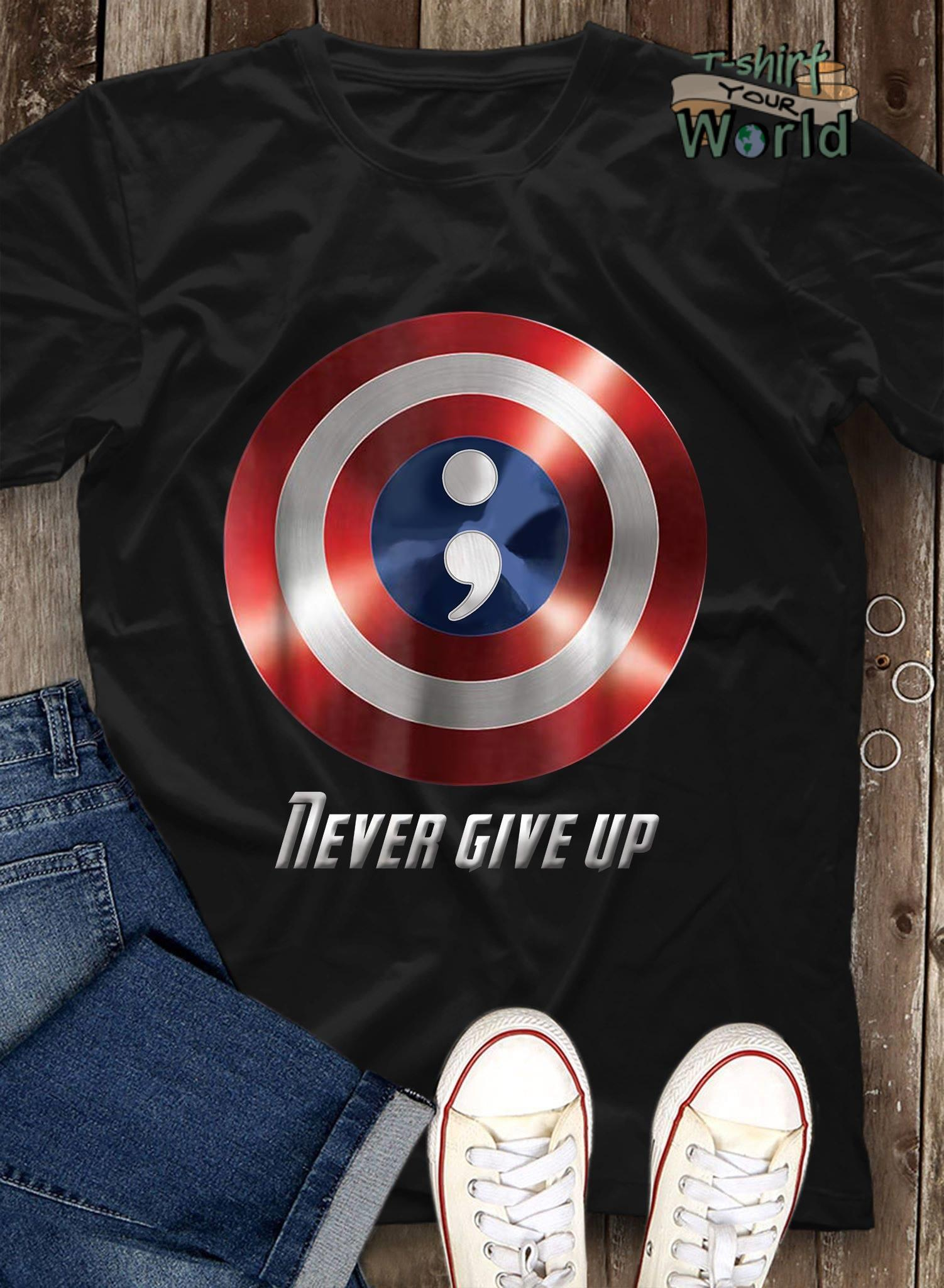 Shield Captain America Never give up shirt