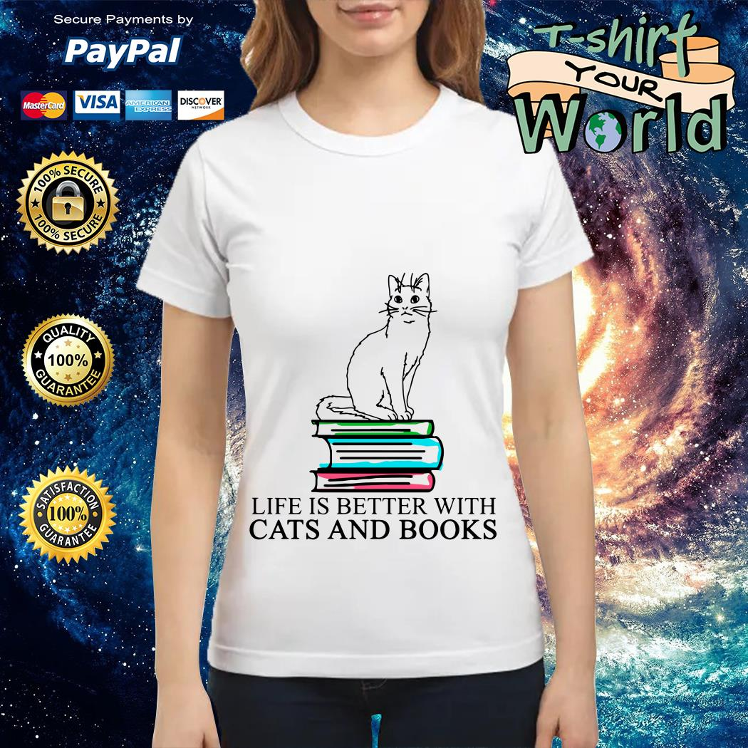 Book life is better with Cats and Books Ladies tee
