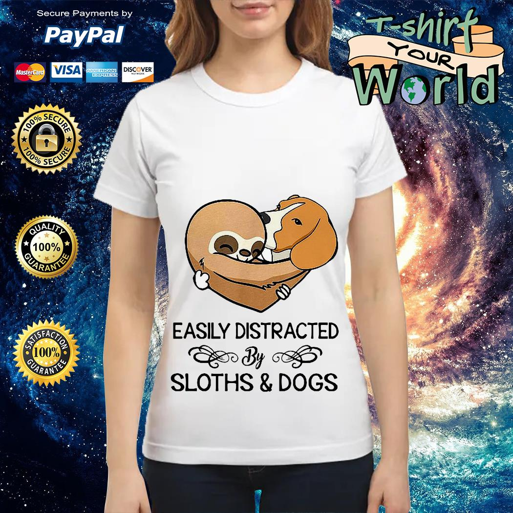 Easily Distracted by Clothes Dogs Ladies tee