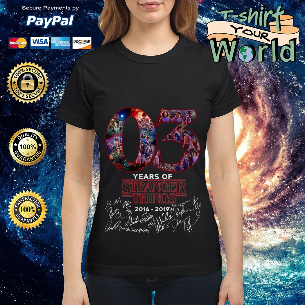 Official 03 Years of Stranger things 2016 2019 Signature Ladies tee