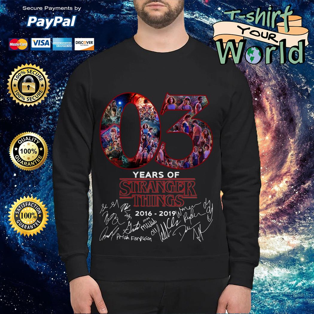 Official 03 Years of Stranger things 2016 2019 Signature Sweater