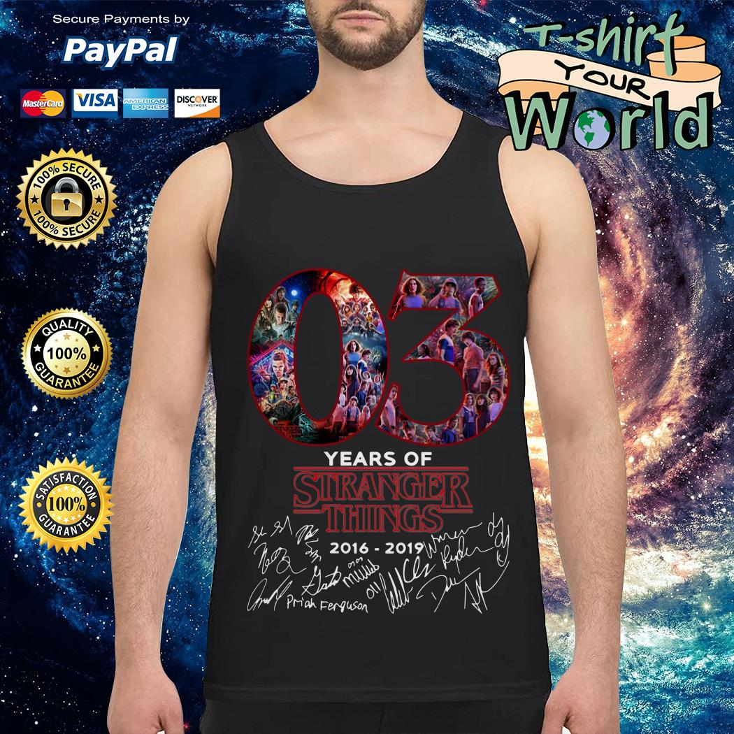 Official 03 Years of Stranger things 2016 2019 Signature Tank top