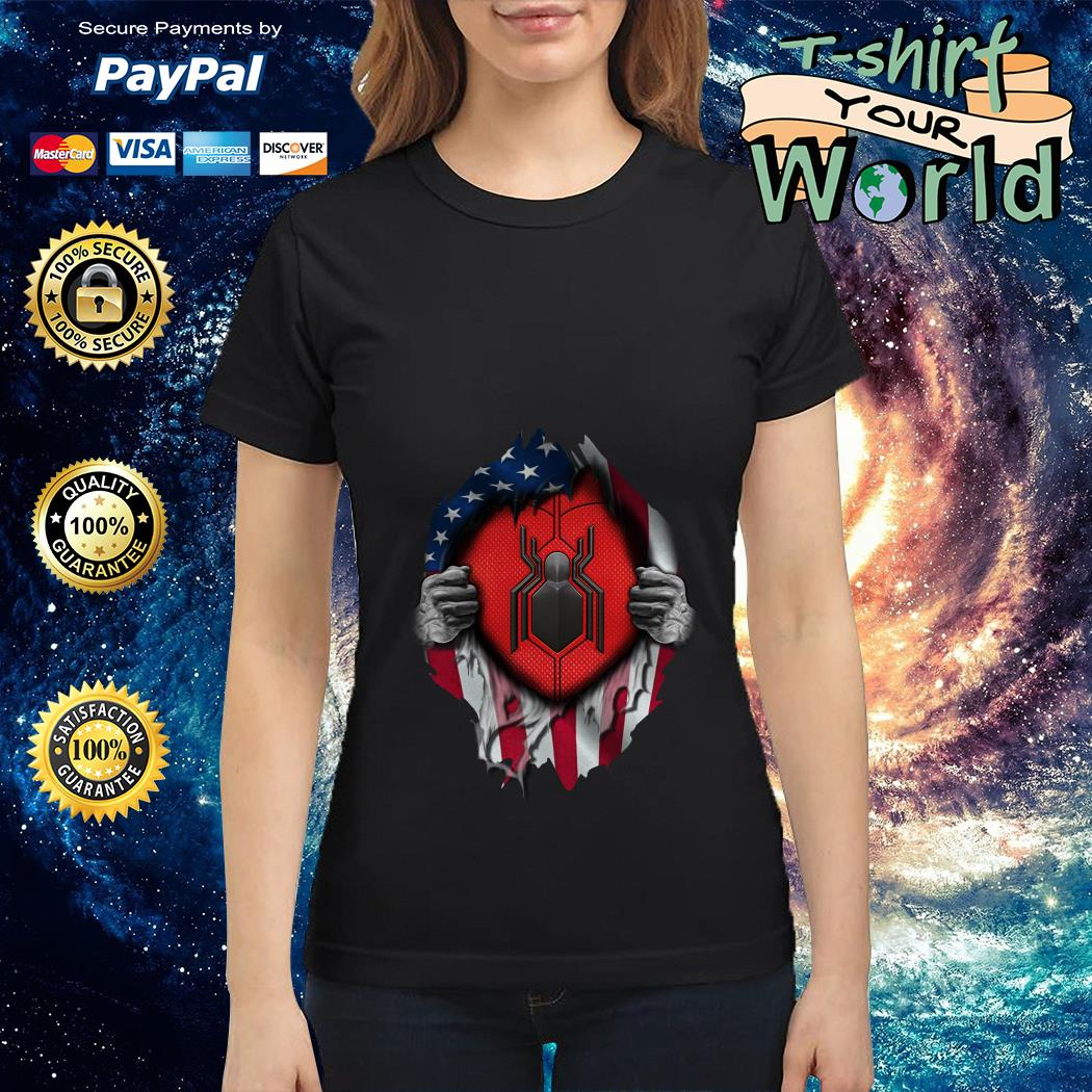 Spide-man far from home American flag in my side Ladies tee