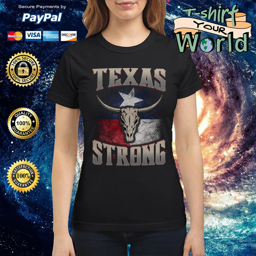 Texas cattle skull strong Ladies tee
