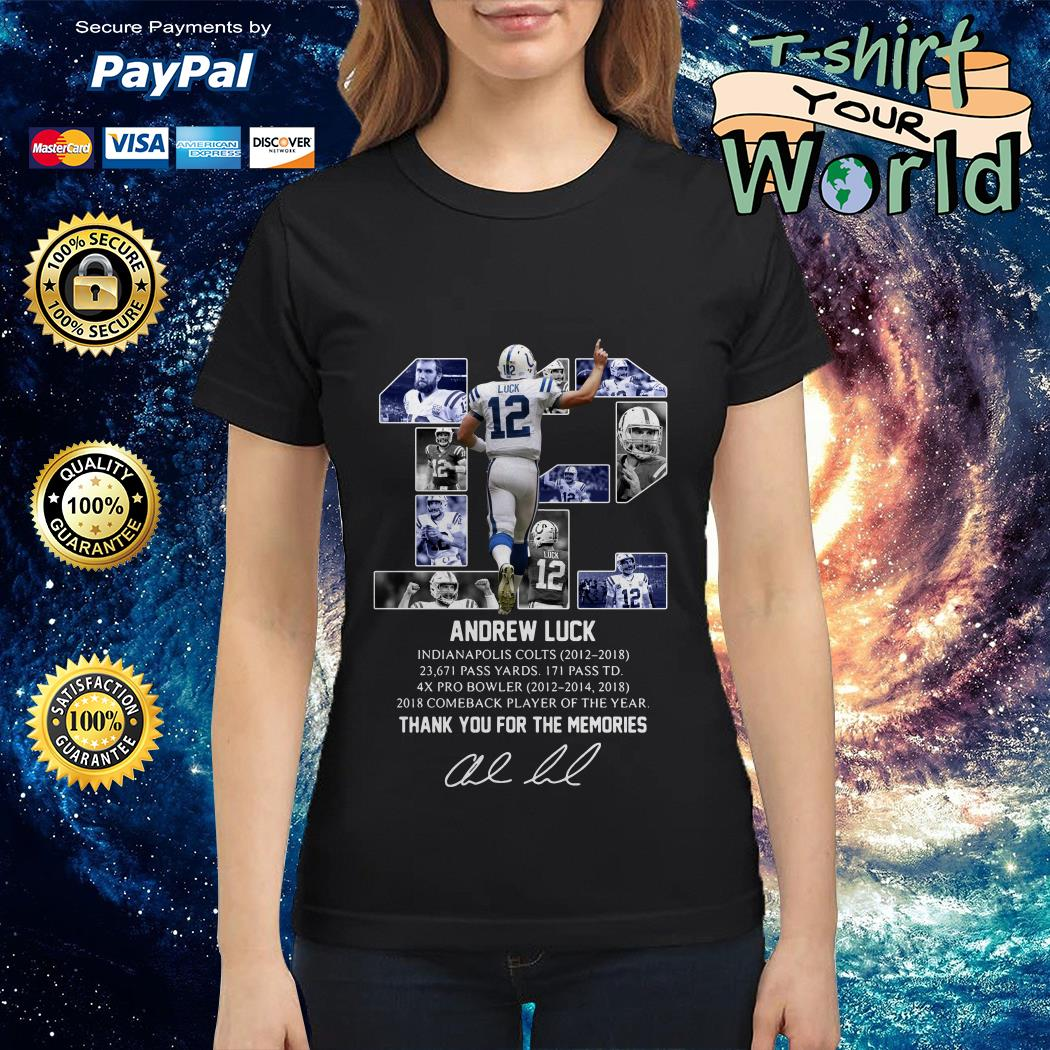 Andrew Luck 12 thank you for the memories signature Ladies tee