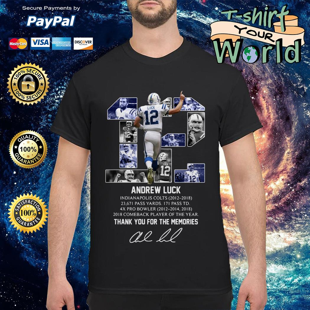Andrew Luck 12 thank you for the memories signature Tank top
