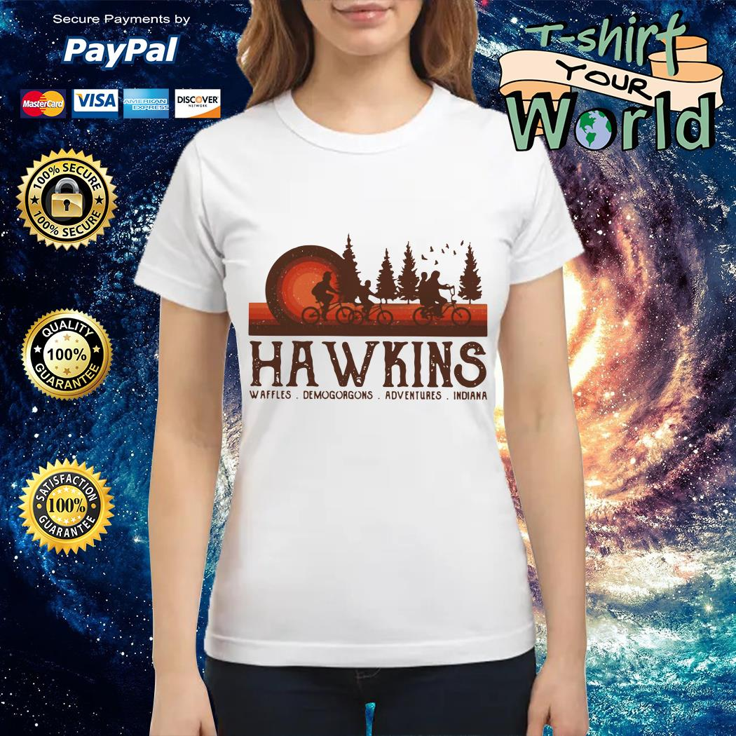 Hawkins Waffles Demogorgons Adventures Indiana Stranger Things Ladies tee