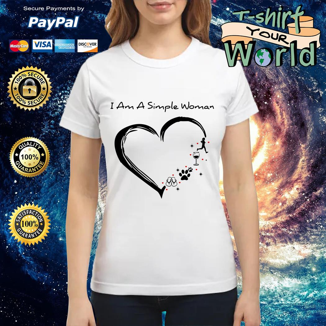 I am a simple woman I love running wine paw dog and flip flop Ladies tee