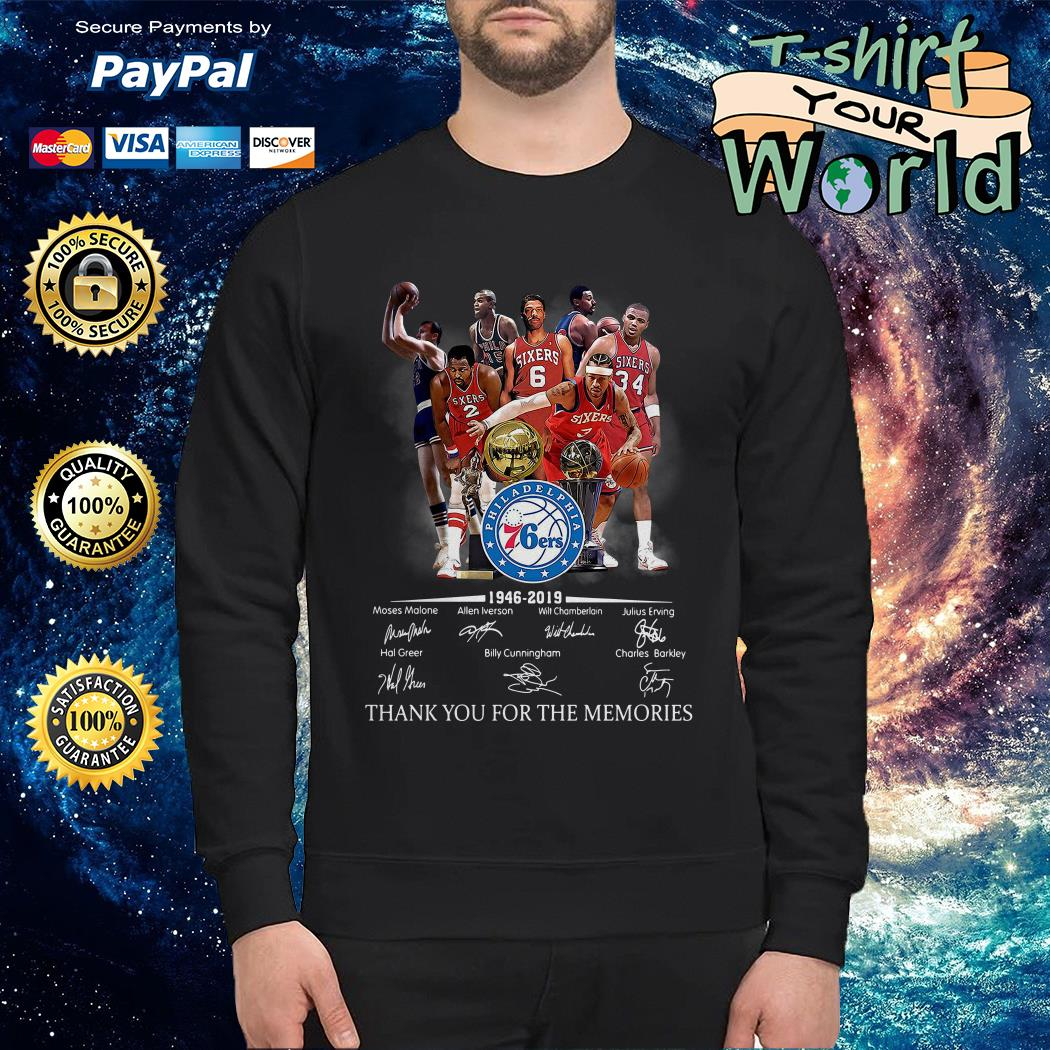 Philadelphia 76ers 1946 2019 thank you for the memories Sweater