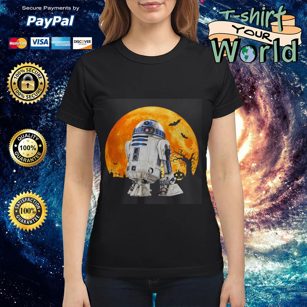 R2d2 Star Wars in the midnight moon Halloween Ladies tee