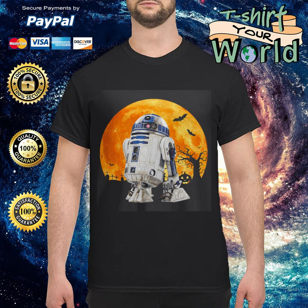 R2d2 Star Wars in the midnight moon Halloween shirt