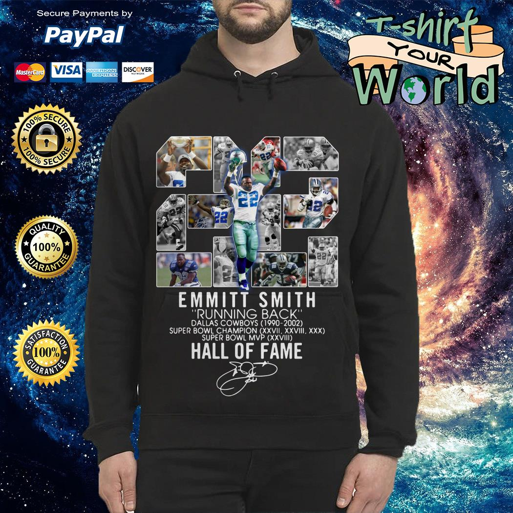 22 Emmitt Smith running back Dallas Cowboys 1990-2002 signature Hoodie