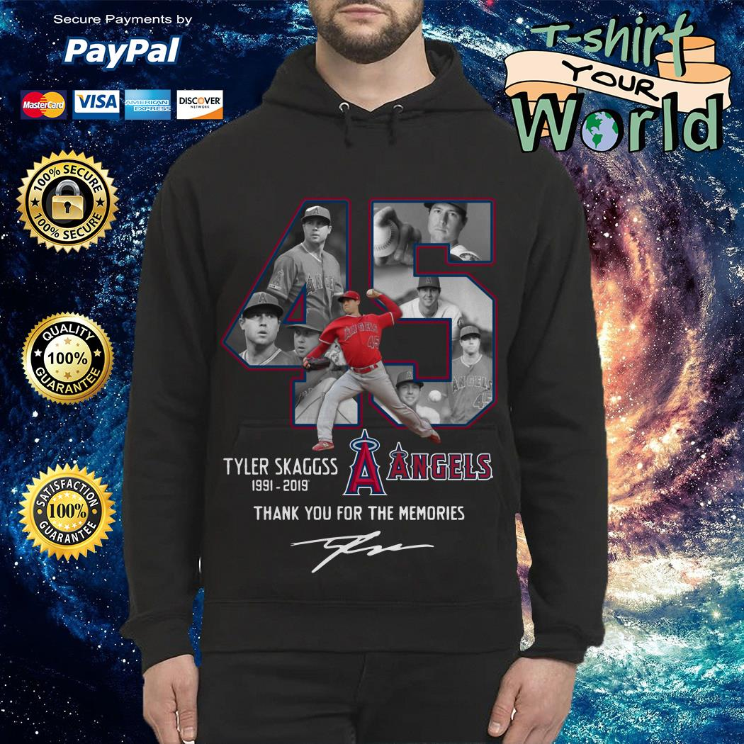Allbluea Angels 45 Tyler Skaggs 1991-2019 thank You for the Memories signature Hoodie
