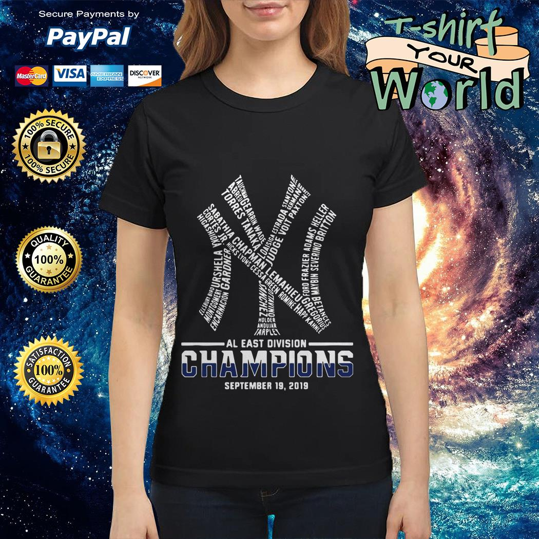 Official New York Yankees AL East division champions September 19 2019 shirt by T-shirtat storeOfficial New York Yankees AL East division champions September 19 2019 Ladies tee