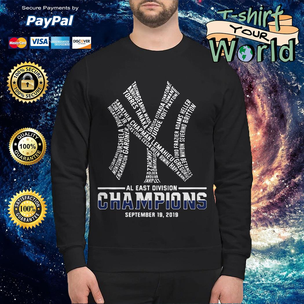 Official New York Yankees AL East division champions September 19 2019 shirt by T-shirtat storeOfficial New York Yankees AL East division champions September 19 2019 Sweater