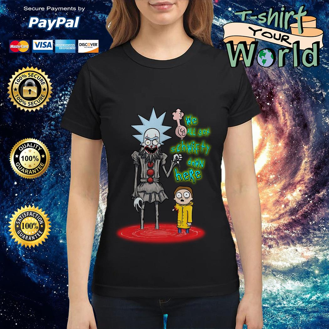 official-rick-and-morty-pennywise-we-all-set-schwifty-down-here-ladies-tee