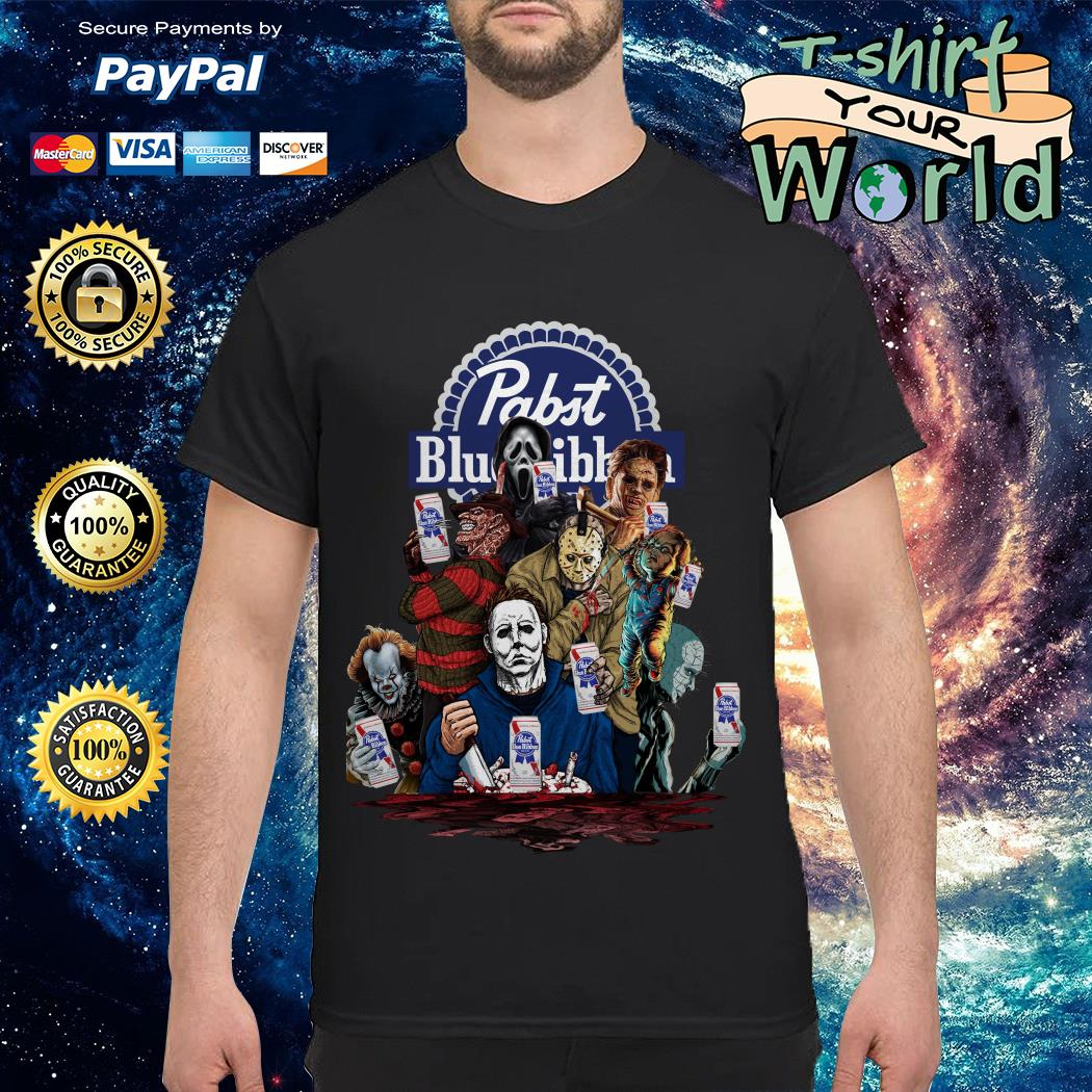Pabst Blue Ribbon horror characters movies shirt