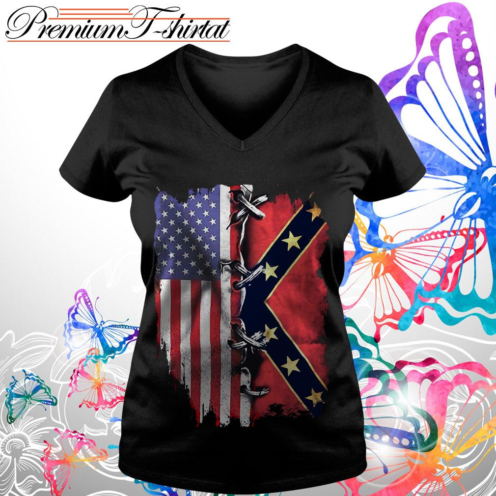 American flag and Confederate Flag shirt