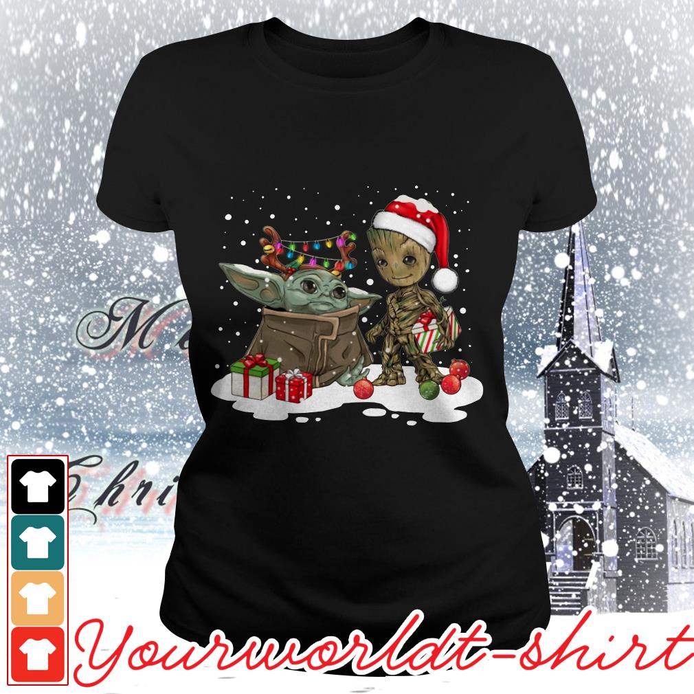 Baby Yoda and Groot Santa Christmas Ladies tee