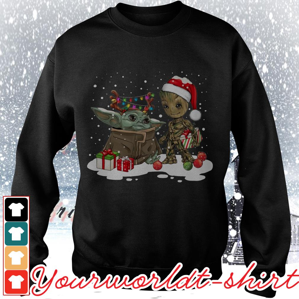 Baby Yoda and Groot Santa Christmas shirt, sweater