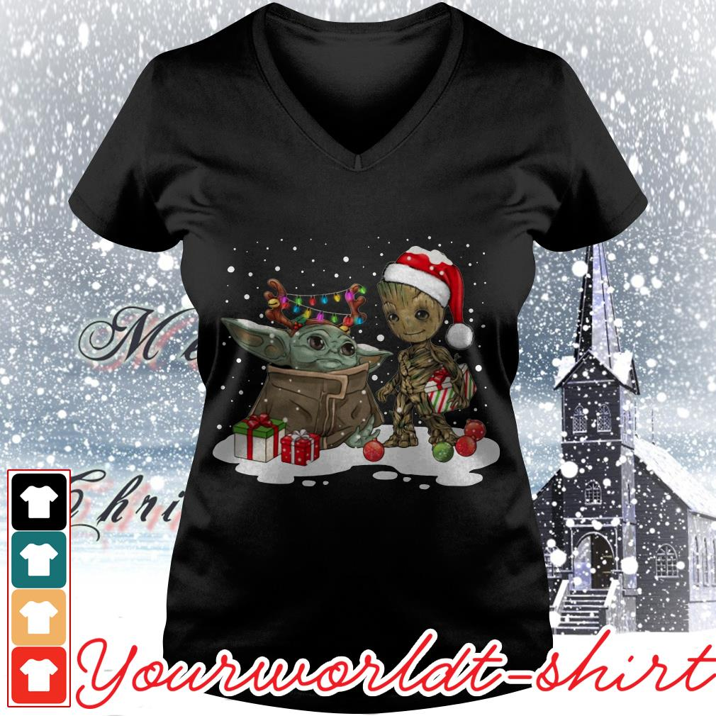 Baby Yoda and Groot Santa Christmas V-neck t-shirt