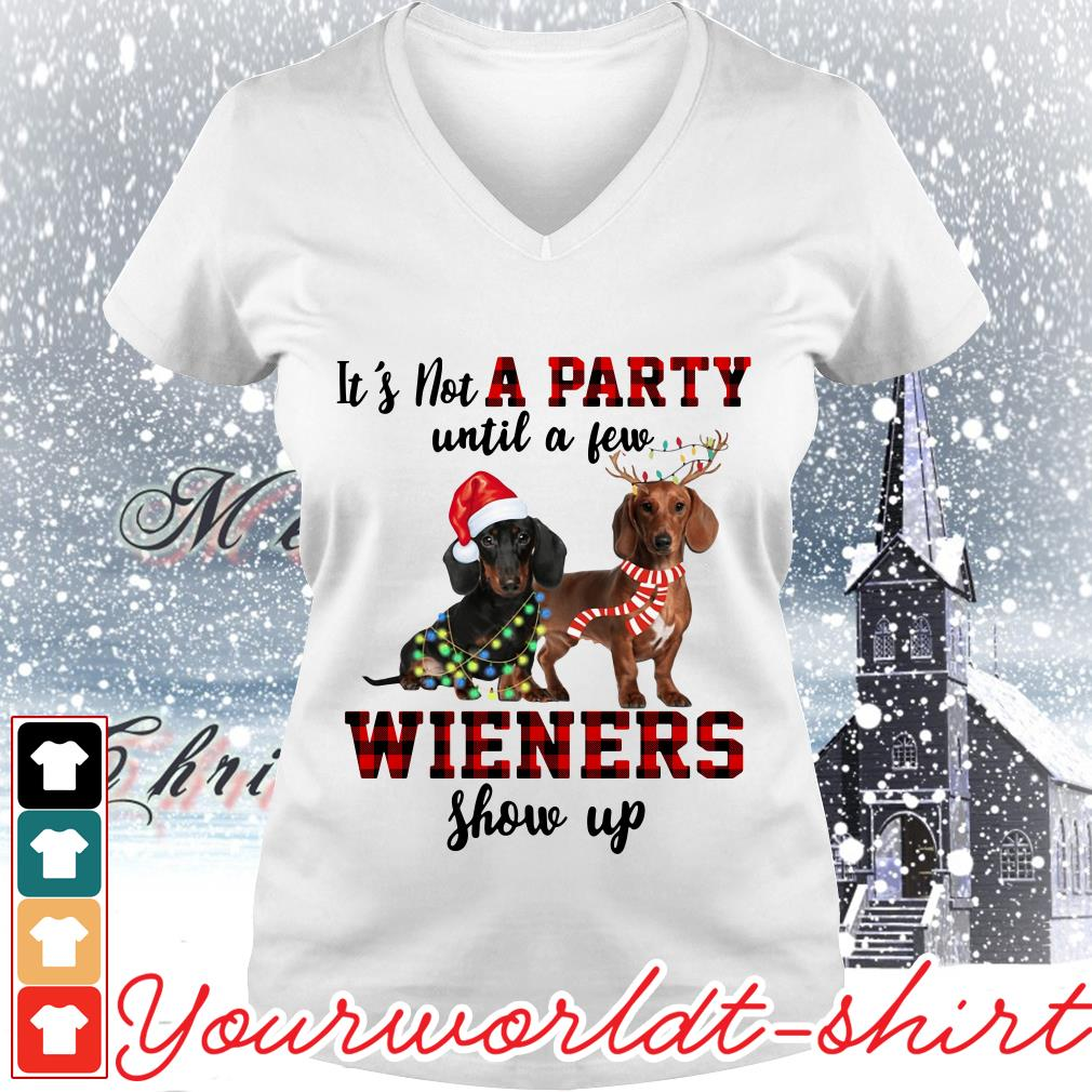 Dachshund it's not a party until a few wieners show up Christmas V-neck t-shirt