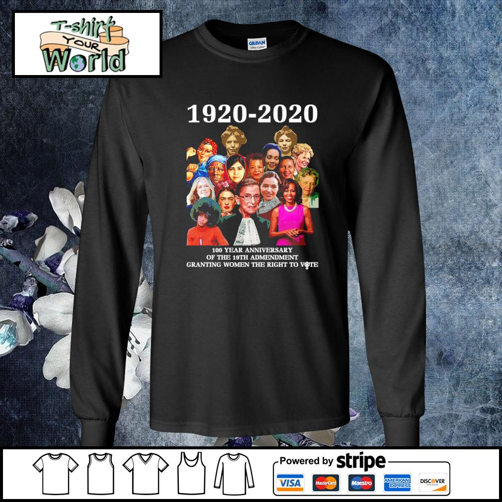 1920 2020 100 year anniversary of the 19th amendment granting women the right to vote s longsleeve-tee