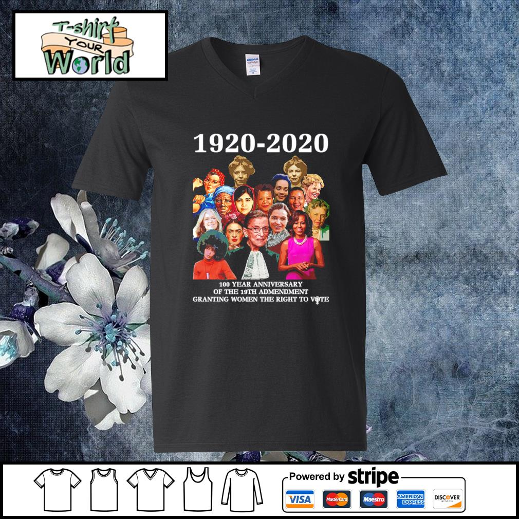 1920 2020 100 year anniversary of the 19th amendment granting women the right to vote s v-neck-t-shirt